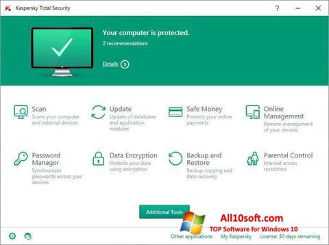 Ekraanipilt Kaspersky Total Security Windows 10