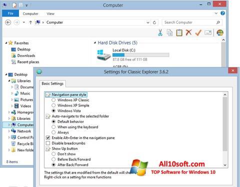 Ekraanipilt Classic Shell Windows 10