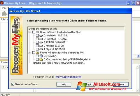Ekraanipilt Recover My Files Windows 10