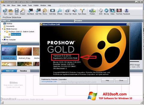 Ekraanipilt ProShow Gold Windows 10