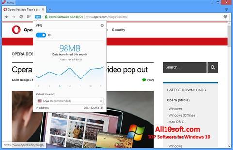 Ekraanipilt Opera Windows 10