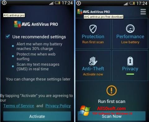 Ekraanipilt AVG AntiVirus Pro Windows 10
