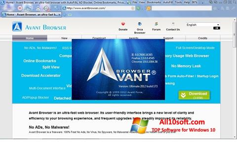 Ekraanipilt Avant Browser Windows 10