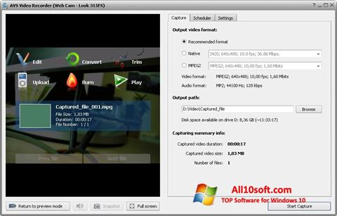 Ekraanipilt AVS Video Recorder Windows 10