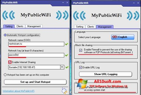 Ekraanipilt MyPublicWiFi Windows 10