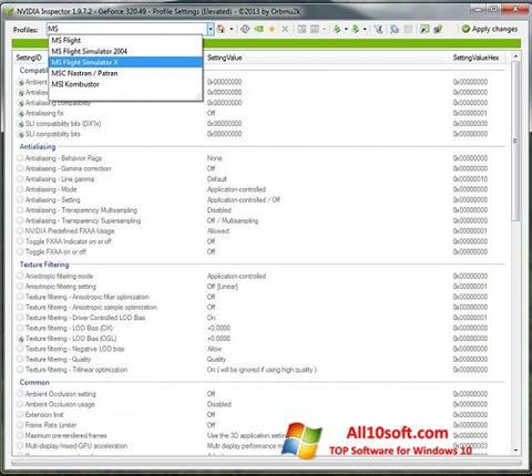Ekraanipilt NVIDIA Inspector Windows 10