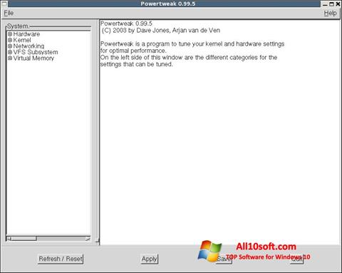 Ekraanipilt PowerTweak Windows 10