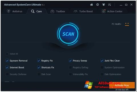 Ekraanipilt Advanced SystemCare Windows 10