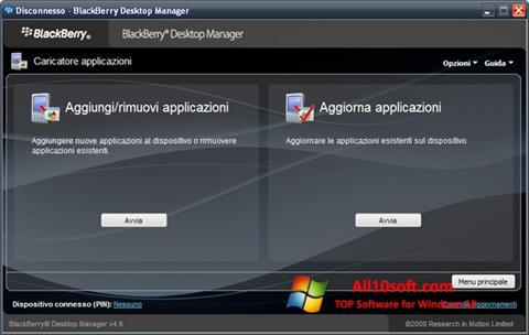 Ekraanipilt BlackBerry Desktop Manager Windows 10