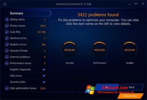 Ekraanipilt Advanced SystemCare Free Windows 10