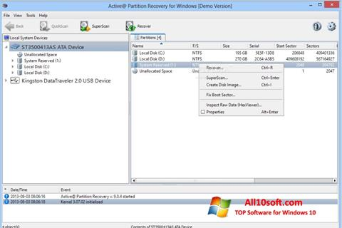 Ekraanipilt Active Partition Recovery Windows 10