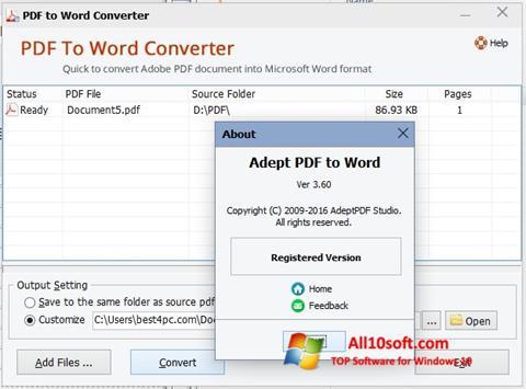 Ekraanipilt PDF to Word Converter Windows 10