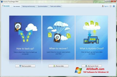 Ekraanipilt Acronis True Image Windows 10