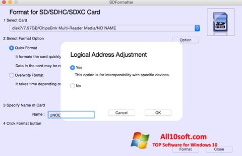 Ekraanipilt SDFormatter Windows 10