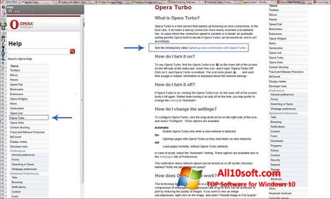 Ekraanipilt Opera Turbo Windows 10