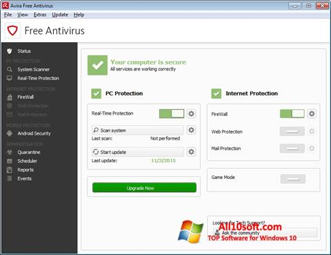 Ekraanipilt Avira Free Antivirus Windows 10