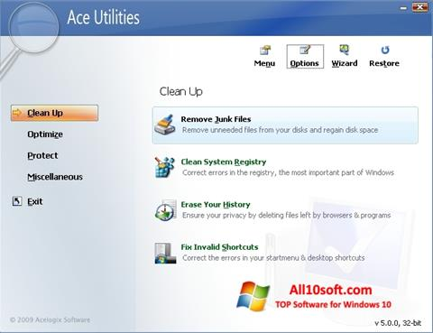Ekraanipilt Ace Utilities Windows 10