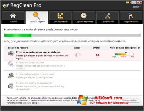 Ekraanipilt RegClean Pro Windows 10