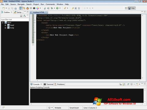 Ekraanipilt Aptana Studio Windows 10