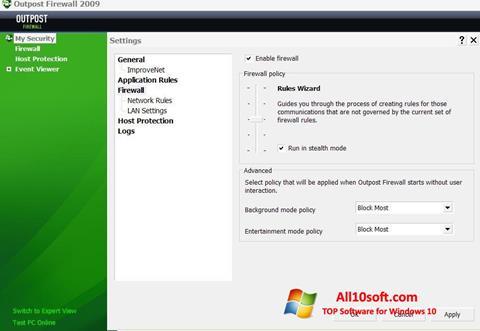 Ekraanipilt Outpost Firewall Free Windows 10