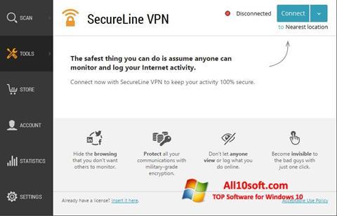 Ekraanipilt Avast SecureLine VPN Windows 10
