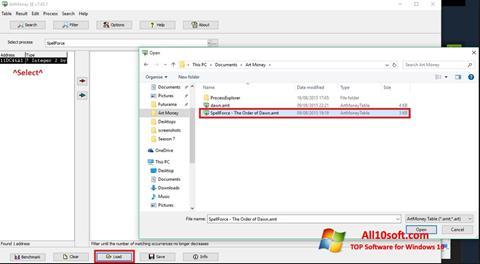 Ekraanipilt ArtMoney Windows 10