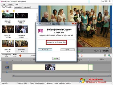 Ekraanipilt Bolide Movie Creator Windows 10