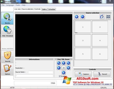 Ekraanipilt webcamXP Windows 10