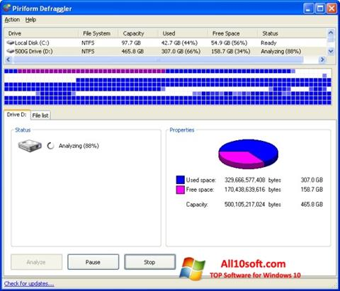 Ekraanipilt Defraggler Windows 10