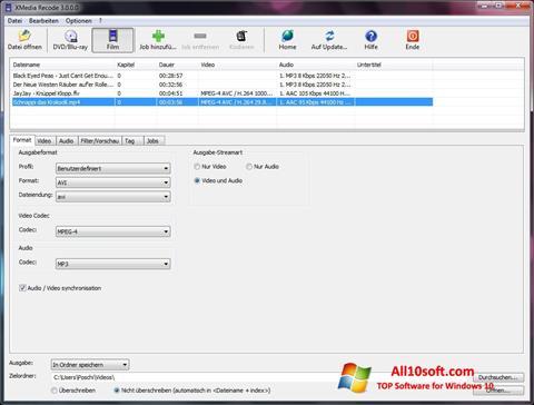 Ekraanipilt XMedia Recode Windows 10