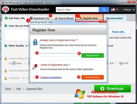 Ekraanipilt Fast Video Downloader Windows 10