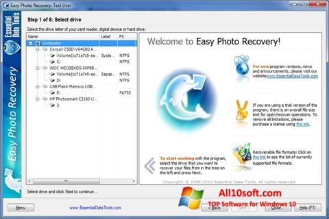 Ekraanipilt Easy Photo Recovery Windows 10