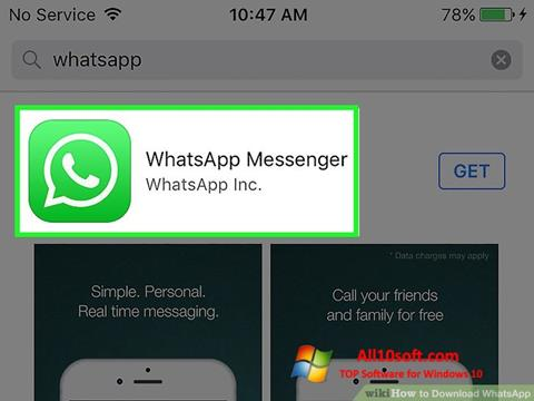 Ekraanipilt WhatsApp Windows 10