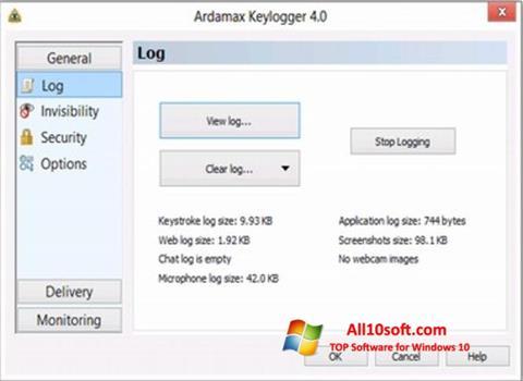 Ekraanipilt Ardamax Keylogger Windows 10