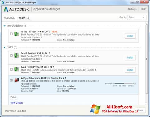 Ekraanipilt Autodesk Application Manager Windows 10