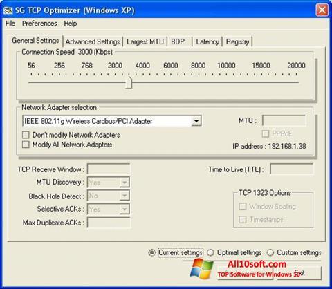 Ekraanipilt TCP Optimizer Windows 10
