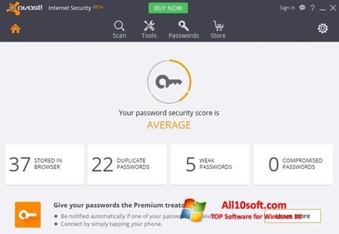Ekraanipilt Avast Internet Security Windows 10