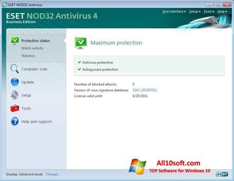 Ekraanipilt ESET NOD32 Windows 10