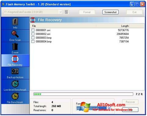 Ekraanipilt Flash Memory Toolkit Windows 10