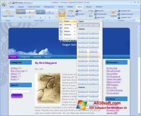 Ekraanipilt Artisteer Windows 10
