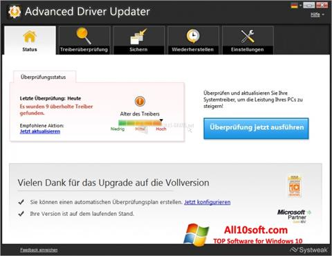Ekraanipilt Advanced Driver Updater Windows 10