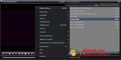 Ekraanipilt AVS Media Player Windows 10