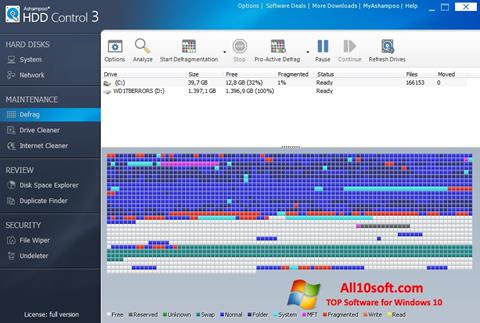 Ekraanipilt Ashampoo HDD Control Windows 10