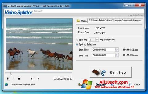 Ekraanipilt Boilsoft Video Splitter Windows 10