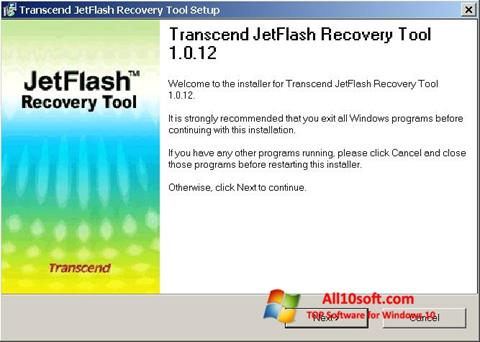 Ekraanipilt JetFlash Recovery Tool Windows 10